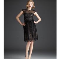Mignon Fall 2013- Black Lace Knee Length Dress - Unique Vintage - Prom dresses, retro dresses, retro swimsuits.