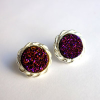 Drusy Deluxe: Braided Purple Drusy Studs