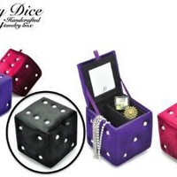 Plush Dice Style Jewelry Box With Interior Mirror 