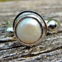 Pearl Engagement Ring, Rustic Style Bezel Set Fresh Water Pearl