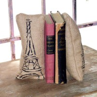 Eiffel Tower Petit Feed Sack Pillow Pair  by nextdoortoheaven