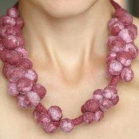 Claret and pink necklace by Feltik on Etsy
