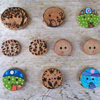 Wood Button Mix - Tree, Bird, Rabbit, Flower, Fox, Leaf, Ocean - Handcrafted Wooden Buttons - Sewing Supplies