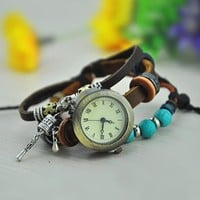 Vintage Style Leather Belt Watch with Turquoise Beads KGH001