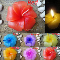 Set of 6 Pcs. Hibiscus Flower Soy Wax Candle Tea by marwincraft