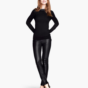 Imitation Leather Pants - from H&M