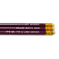 Dumb & Dumber pack of 3 purple stamped pencils.