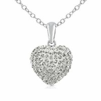 Wow! 925 Sterling Silver Cubic Zirconia Cz Crytals Round Heart Pendant Large 15mm Heart Shape Necklace,:Amazon:Jewelry