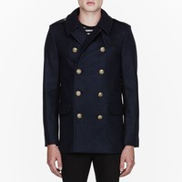 Navy Blue Pea Coat by Saint Laurent - $2500