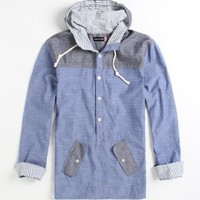 Modern Amusement Mens Anorak Long Sleeve Hooded Woven Shirt
