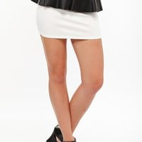 Leather Peplum Ivory Mini Skirt @ Cicihot Pants Online Store: sexy pants,sexy club wear,women's leather pants, hot pants,tight pants,sweat pants,white pants,black pants,baggy pants