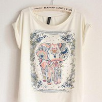 Cotton T-shirt with Walking Elephant Print GJNM349 from topsales