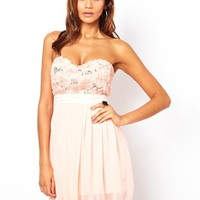 Elise Ryan Bandeau Skater Dress in Sequin Cornelli at asos.com