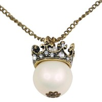 World Pride Fashion Vintage Pearl Crystal Crown Pendant Long Chain Necklace