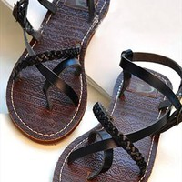 Roman Style Leisure Retro Strap Thong Sandal from perfectmall