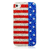 Generic Handmade Bling Sparkle Crystal Phone Case For iPhone 5 -The USA Flag Color Red&Blue