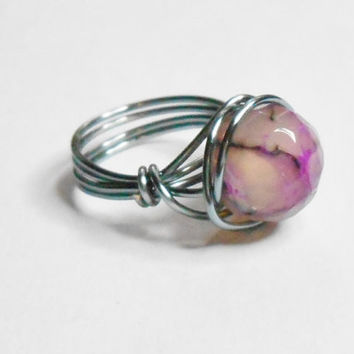 Fire Agate Faceted Gemstone Purple Pink Black Gunmetal Wire Wrapped Ring