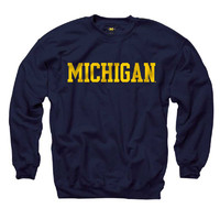 The M Den -  University of Michigan Sweatshirt-New Agenda Basic Crew in Navy - MDen