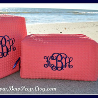 Small Size Monogrammed Cosmetic Bag - Personalized Waffle Weave bridesmaids case purse size handbag tote pocketbook