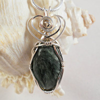Wire Wrapped Handmade Jewelry, Green Seraphinite Pendant
