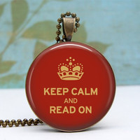 Keep Calm and Read On Pendant Necklace Glass Dome by Lizabettas