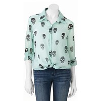 About A Girl Skull Chiffon Tie Button-Front Top - Juniors