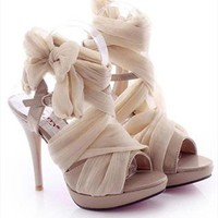 High Heel Chiffon Lace Up Sandals for Women Beige NKV061626 from topsales