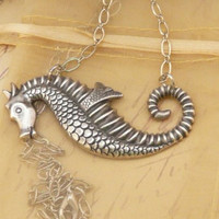 Seahorse Necklace Silver Pendant Jewelry by QuaintandCurious