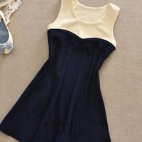 A 080216 Hit color stitching sleeveless high waist dress from cassie2013
