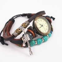 Vintage Style Leather Belt Watch with Turquoise Beads HSD001