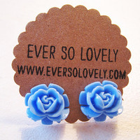 sky blue rose earrings  lovely blue skies summer by EverSoLovely