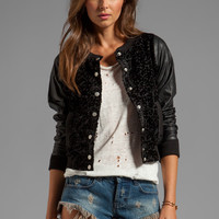 Gypsy Junkies Gypsy Varsity Bomber in Noir Velvet Lace from REVOLVEclothing.com