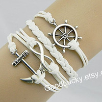 Bracelets-Hipsters jewelry,Anchor bracelet,infinity bracelet,rudder bracelet,white leather bracelet,fashion jewelry bracelet with charm