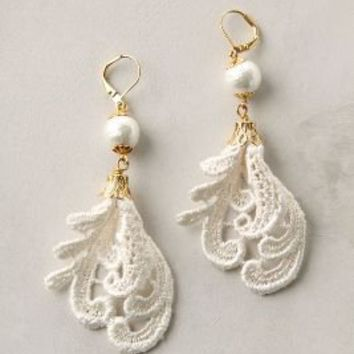 Feather Lace Earrings-Anthropologie.com