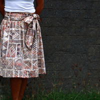 Tribal Skirt in Brown and Cream / Indian Ethnic Midi Length Skirt with Sash Belt - Ready to Ship