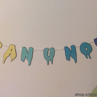 "Pastel Gradient Drippy Font ""Can U Not"" Banner Yellow/Green/Blue with Black Outline"