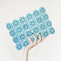 Sky blue lace clutch white - azure, fashion summer, upcycled, large purse, OOAK