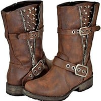 Breckelles Rocker-17 Brown Women Riding Boots:Amazon:Shoes