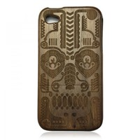 Generic Walnut Case for iPhone 4 / 4s - Hand Carved Totem Color Wood