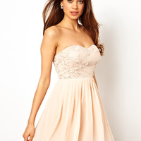 Elise Ryan Bandeau Skater Dress in Rose Applique