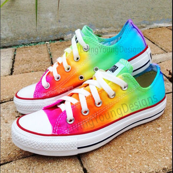 RAINBOW CONVERSE Custom Tie Dye Converse by LivingYoungDesigns