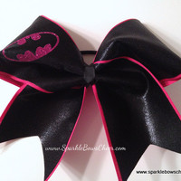 Hot Pink Batty Super Hero Cheer Bow Hair Bow Cheerleading