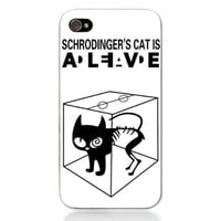 Generic Movie Theme Collection Case For iPhone 4/4S - The Big Bang Theory Schrodinger's Cat Color White