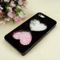 Double Hearts Dancing Diamond Case for iPhone 4/4S (black frame)