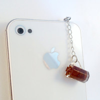 Soda Cola Mug Phone Charm, Dust Plug or Cell Phone Strap, For iPhone or iPod, Cute :D