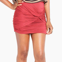 Twisted Mini Skirt in Rust