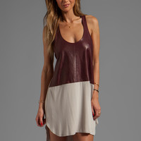 Mason by Michelle Mason Leather Front Tank Dress in Oyster/Wine from REVOLVEclothing.com