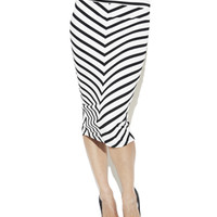 Chevron Stripe Knee Length Skirt | Shop Bottoms at Arden B