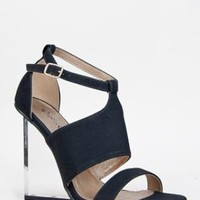 Black Cut Out Lucite Wedge Heels