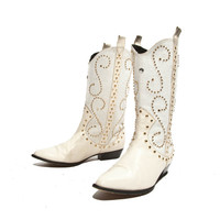 80's Vintage Zalo Boots White Leather and Woven Canvas Tweed Gold Studded Rhinestones Women sz 8 1/2 B